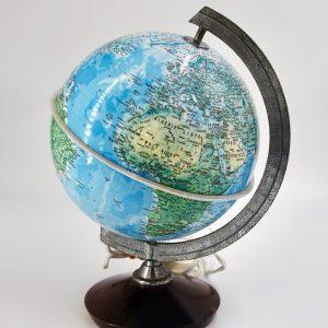 Globe terrestre ancien vintage pied bois 20 cm
