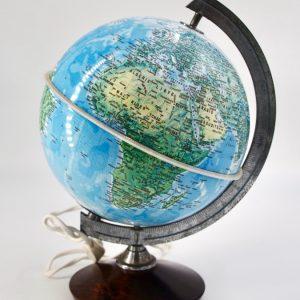 Globe terrestre vintage occasion pied bois 20 cm