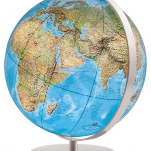 C'est un globe terrestre lumineux mappemonde Columbus Duorama 40 cm bleu en acier inox