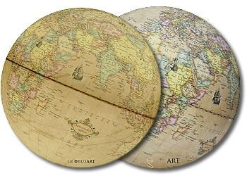 globe-terrestre-vintage-ancien-mappemonde-ancienne-Columbus-deux-cartes