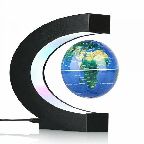 C'est un globe terrestre lévitation mappemonde magnétique flottant bleu en forme de C