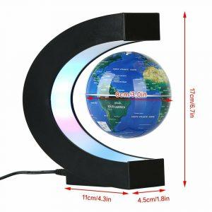 C'est un globe terrestre interactif lévitation magnétique flottant bleu en forme de C avec dimensions